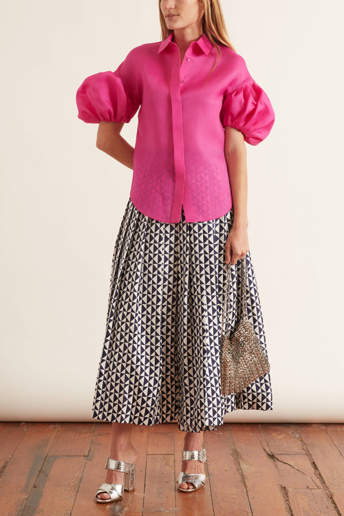 Puffy Sleeve Signature Shirt in Fuchsia