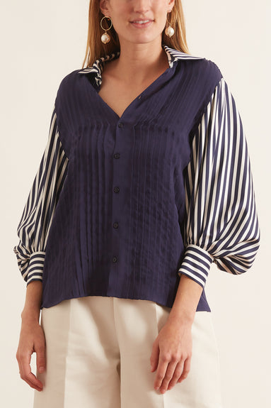 Striped Collared Blouse in Navy Stripe