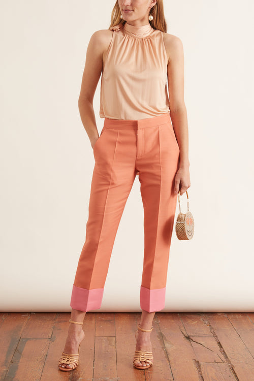 Wide Leg Pants in Peach