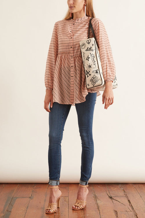 Checked Transparencies Blouse in Rose Check TS