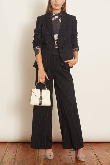 Classic Twist Pants in Grey Stripes on Navy