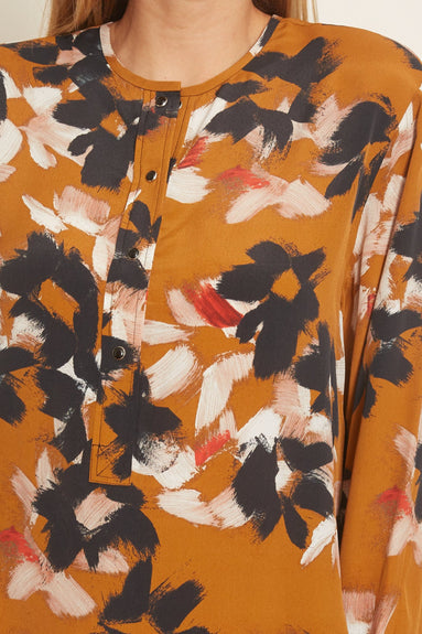 Floral Graphics Blouse in Caramel Flowers on Black