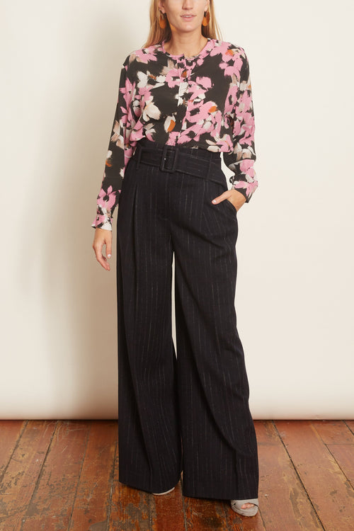 Floral Graphics Blouse in Pink Flowers on Black