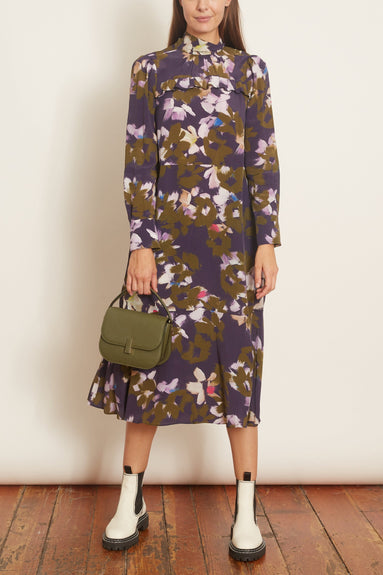 Floral Graphics Dress in Green Flowers on Blue