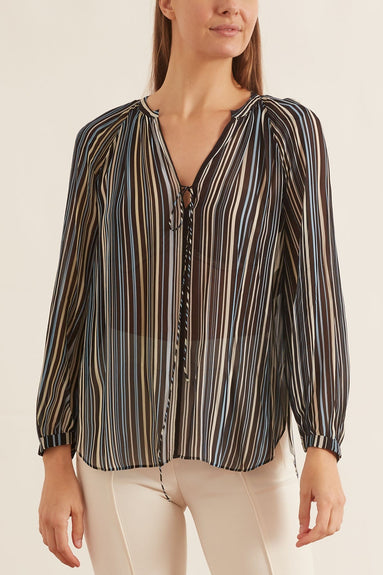Flowing Stripes Blouse in Green/Black Stripes