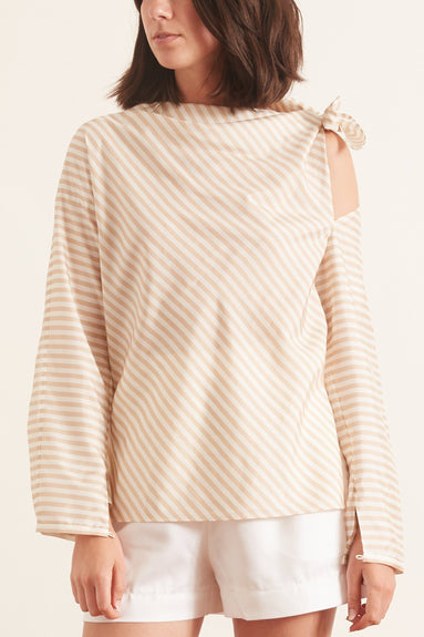 Striped Sensation Blouse in Beige White Stripes