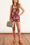 Structured Florals Shorts in Bordeaux/Beige Floral