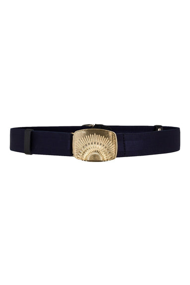 Belted Statement Stretch Belt in Ink Blue