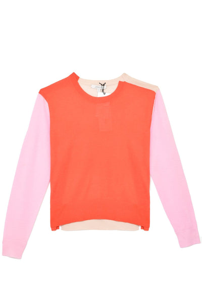 Colorful Essential Crewneck Pullover in Red/Pink Colorblock