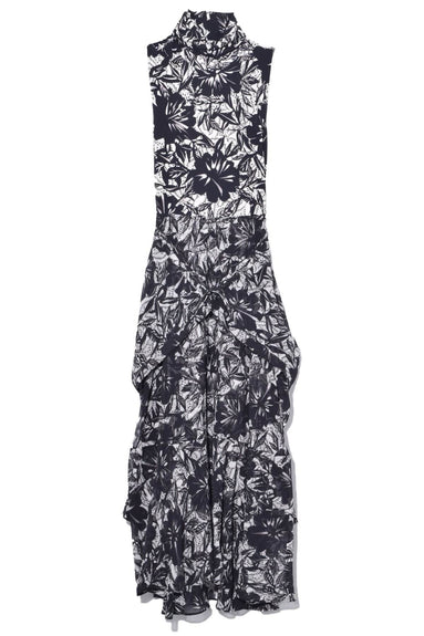 Exotic Flowering Sleeveless Dress in Black Ceramic Flower