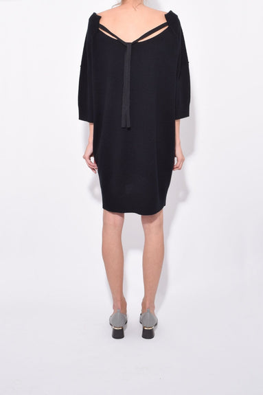 Irresistible Ease Boatneck Dress in Pure Black