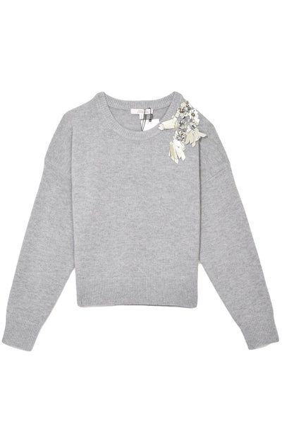 Playful Mind Pullover in Light Grey Melange