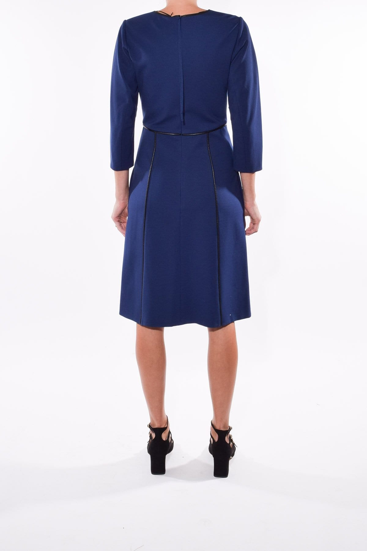 V-neck Piping Pocketed Elbow Length Sleeves Dress