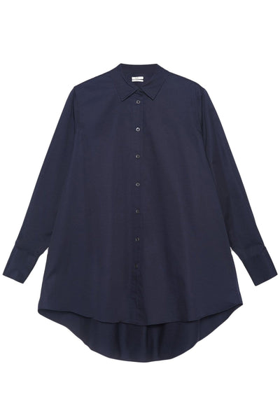 Flared Button Down Shirt in Navy