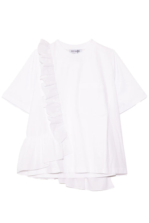 Asymmetric Tee in White