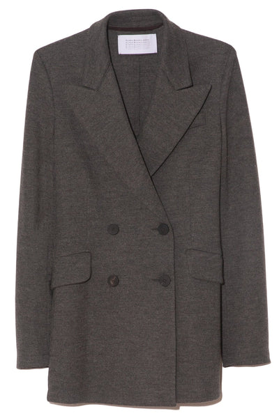 Superfine Merino Double Breasted Blazer in Grey