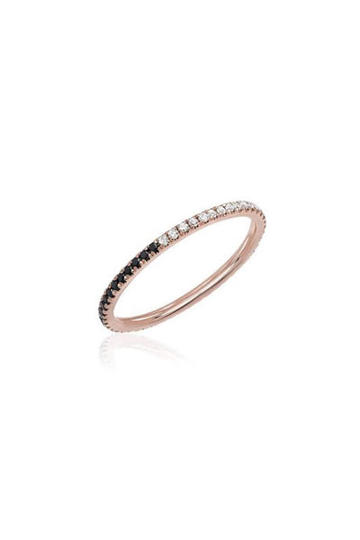 Two Tone Diamond Eternity Band Ring in Rose Gold