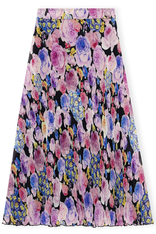 Pleated Georgette Skirt in Multicolor