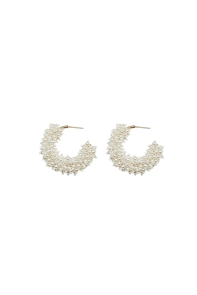 Taylor Mini Hoop Earrings in White/Gold