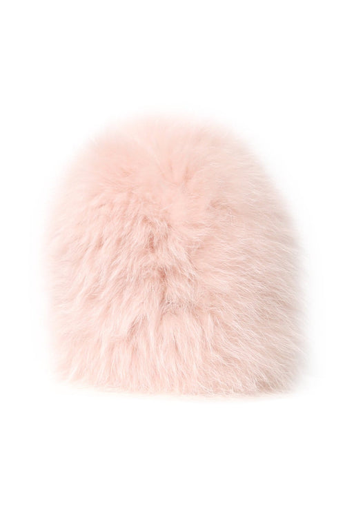 Knitted Fur Hat in Bouton De Rose