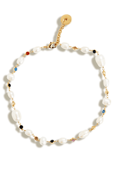 Lyford Mixed Rainbow Pearl Necklace in White/Multi