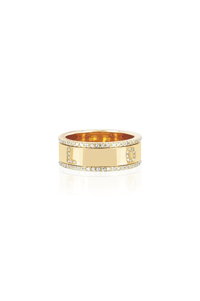 Diamond Love Spinning Ring in Yellow Gold