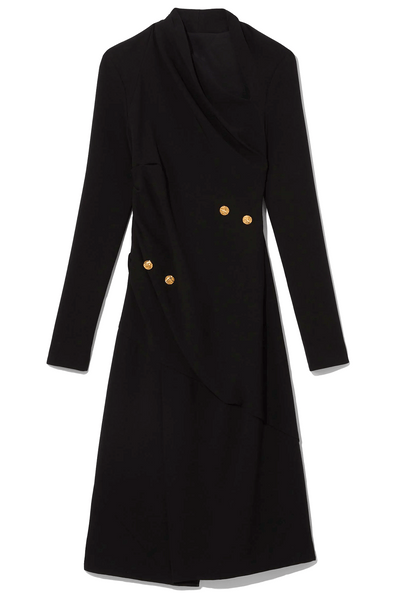 Matte Viscose Crepe Long Sleeve Dress in Black
