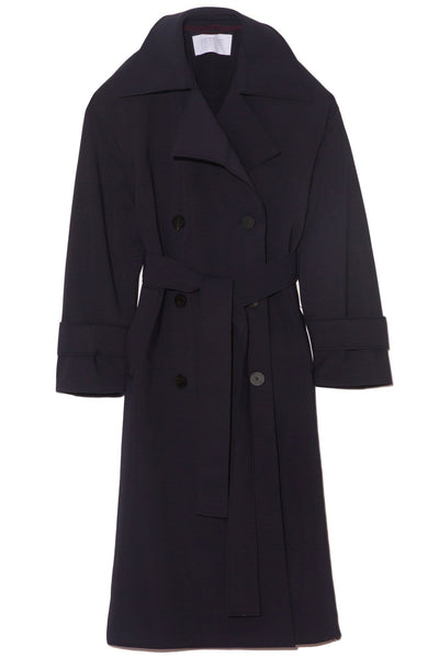 Oversized Technic Trench Coat in Navy Blue