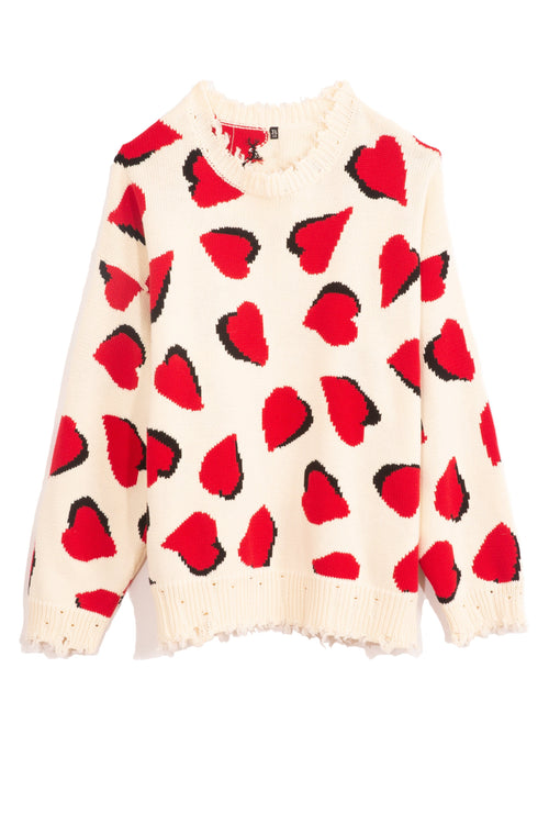 Hearts Oversized Sweater in Ecru with Hearts