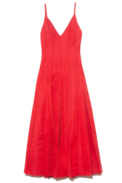 Million Pleats V-Neck Dress in Red