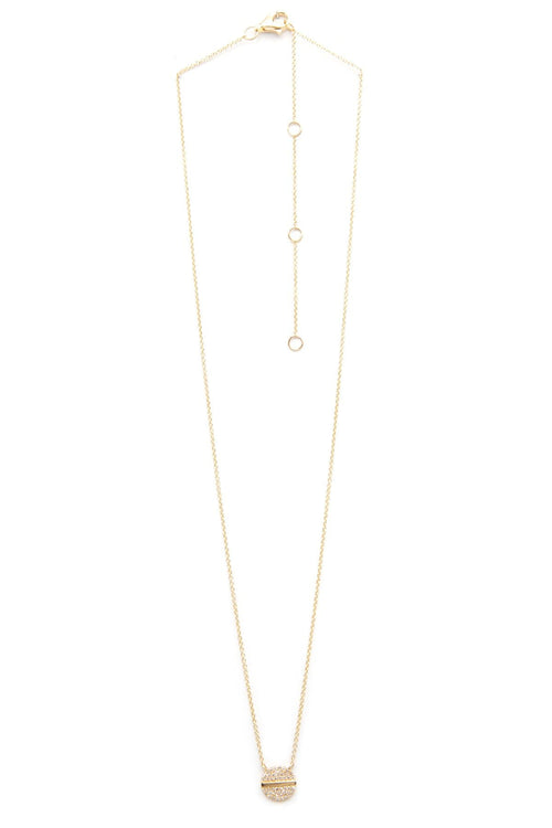 14K Gold Diamond Nail Head Necklace