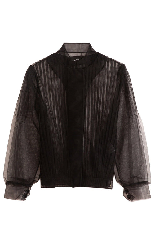 Pleated Bomber Blouse in Black