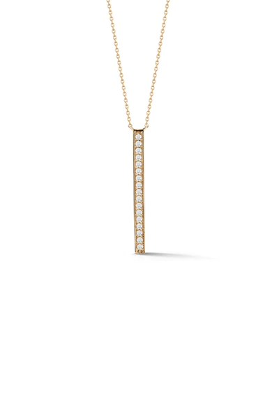 Sylvie Rose Long Bar Drop Necklace in Yellow Gold