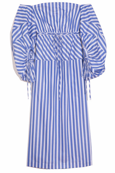 Balloon Sleeve Cocktail Dress in Blue Stripe
