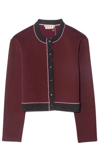 Cropped Cardigan Sweatshirt in Burgundy