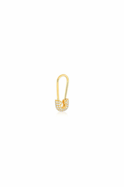 Single Diamond Safety Pin Earring in Yellow Gold
