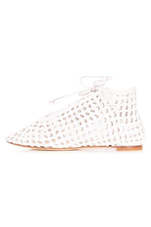 Woven High Top Flat in White