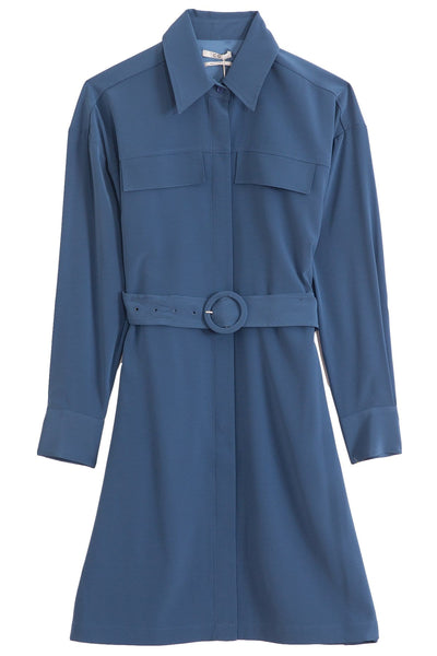 Stretch Crepe Shirt Dress in Indigo