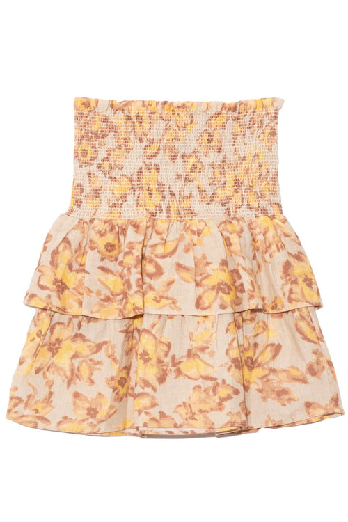 Davey Tiered Skirt in Painted Floral Print