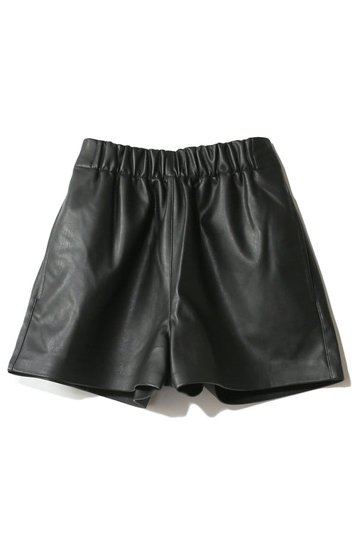 Faux Leather Pull On Shorts in Black