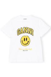 Basic Cotton Jersey Graphic Tee in Bright White