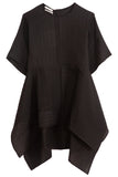 Smocking Flared Blouse in Black
