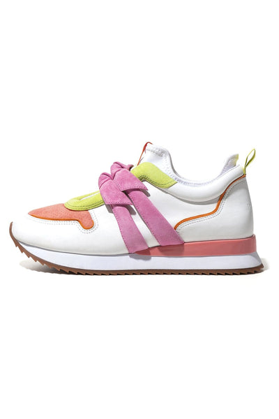 Mia Sneaker in White/Salmon Pink/Sunny Lime/Bubble/Frozen Mango