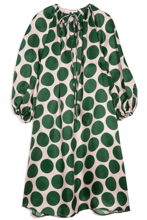 Puff Sleeve Long Dress in Green Dots