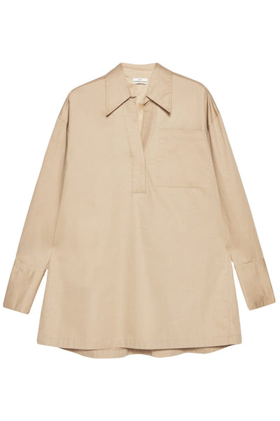 Split Neck Collared Shirt in Taupe