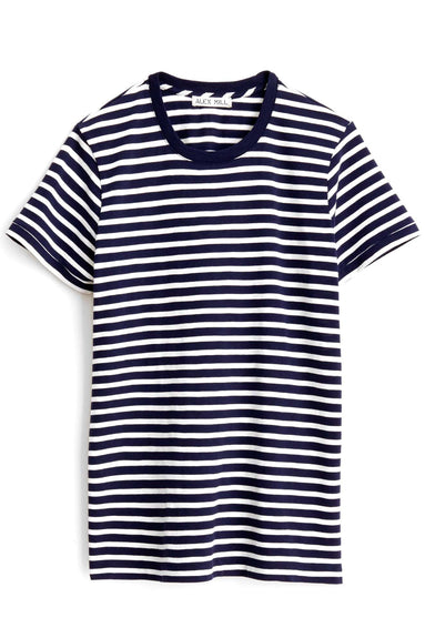 Slub Stripe Tee in Navy/Ivory