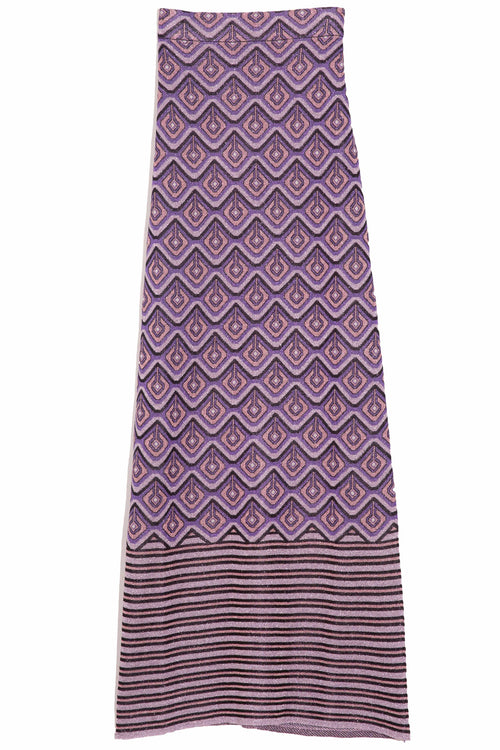 Long Skirt in Purple Argyle/Stripes