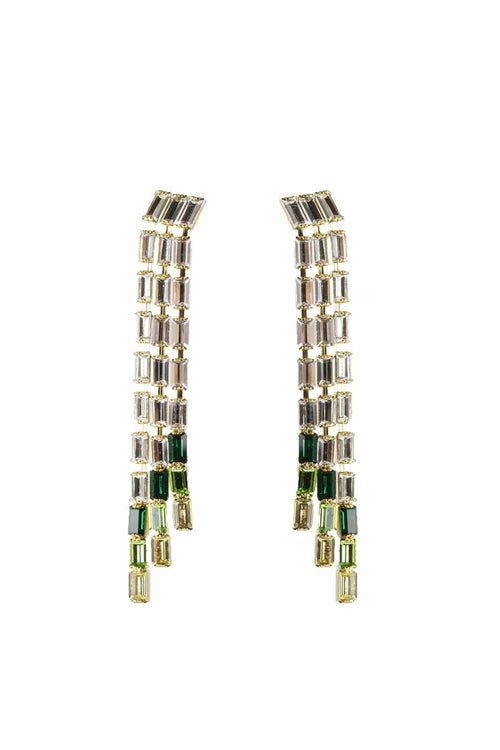 Barlume Earrings in Crystal/Green