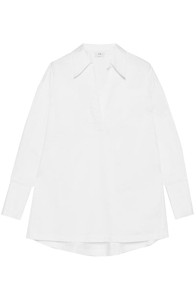 Split Neck Collared Shirt in White