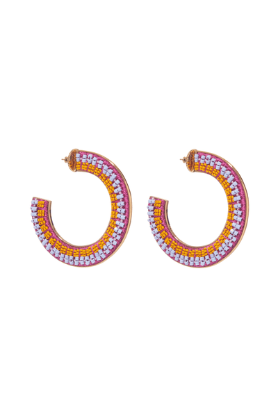 Mariana Hoops in Orange/Light Blue